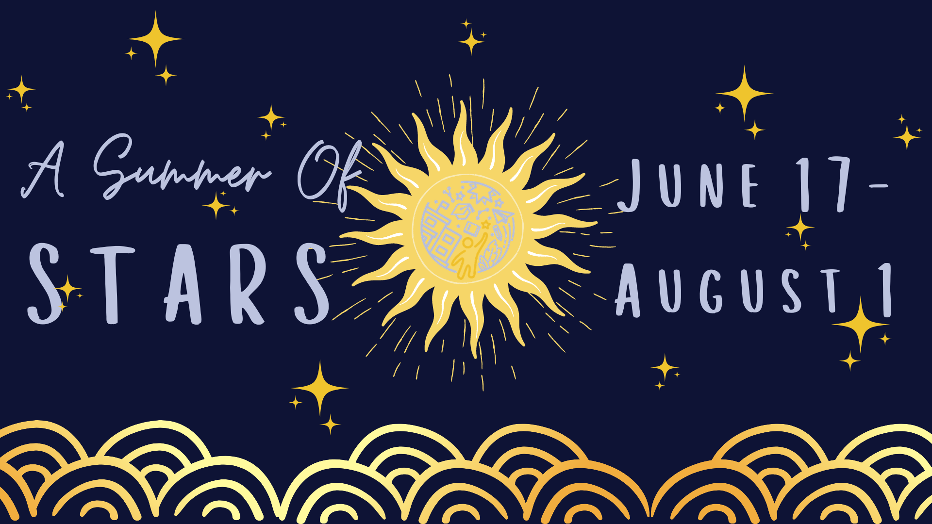 blue background with gold stars and sun detailing and event title with dates